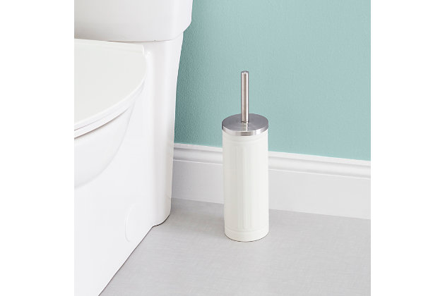 Home Accents Embossed Ivory Steel Toilet Brush, , large
