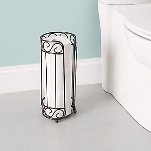 Home Accents Scroll Collection Bath Tissue Reserve Toilet Paper Roll Holder Stand, , rollover