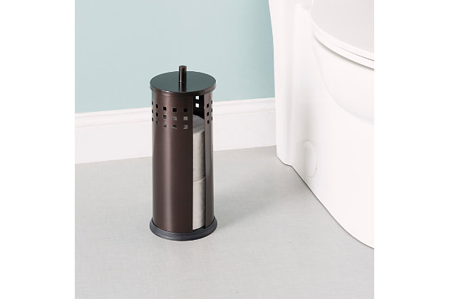 Home Accents Vented Steel Bath Tissue Reserve with Lid, , large
