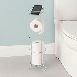 Home Accents Free Standing Dispensing Toilet Paper Holder with Built-in Accessory Tray, , rollover