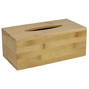 Home Accents Rectangle Bamboo Tissue Box Cover, , large