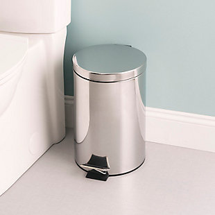 Home Accents 12 Liter Polished Stainless Steel Round Waste Bin, , rollover