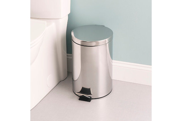 Home Accents 12 Liter Polished Stainless Steel Round Waste Bin, , large