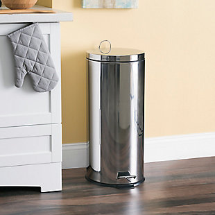 Home Accents 30 Liter Polished Stainless Steel Round Waste Bin, , rollover