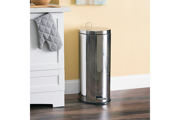 Home Accents 30 Liter Polished Stainless Steel Round Waste Bin, , large