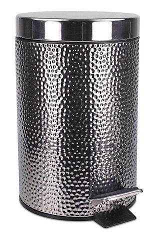 Home Accents Hammered Stainless Steel Waste Bin, , large