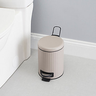 Home Accents Modern Chic 3 Liter Step-On Steel Waste Bin, Tan, rollover
