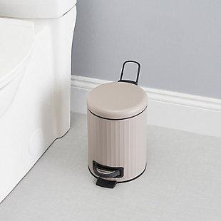 Home Accents Modern Chic 3 Liter Step-On Steel Waste Bin, Tan, rollover