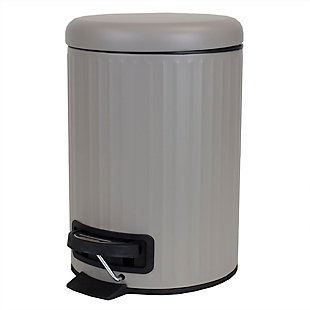 Home Accents Modern Chic 3 Liter Step-On Steel Waste Bin, Tan, large