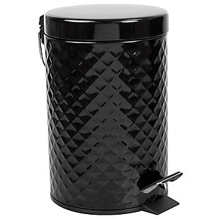 Home Accents 3 Liter Step-On Textured Steel Waste Bin, , large