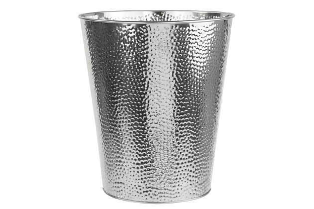 Home Accents Hammered Stainless Steel 5 Liter Waste Bin, , large