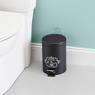 Home Accents 3 LT Paris Le Bain Step On Steel Waste Bin with Carrying Handle, , rollover
