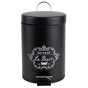 Home Accents 3 LT Paris Le Bain Step On Steel Waste Bin with Carrying Handle, , large