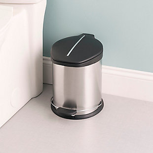 Home Accents 5 Liter Brushed Stainless Steel with Plastic Top Waste Bin, , rollover