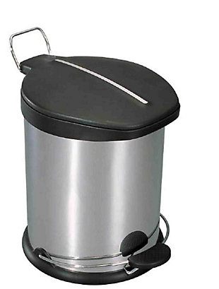 Home Accents 5 Liter Brushed Stainless Steel with Plastic Top Waste Bin, , large