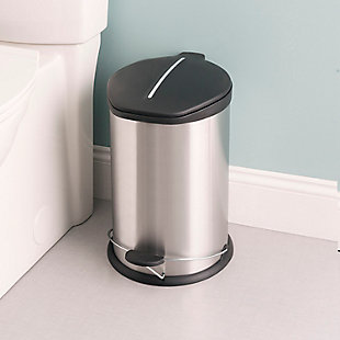 Home Accents 12 Liter Brushed Stainless Steel with Plastic Top Waste Bin, , rollover