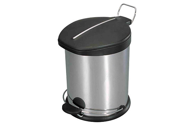Home Accents 12 Liter Brushed Stainless Steel with Plastic Top Waste Bin, , large