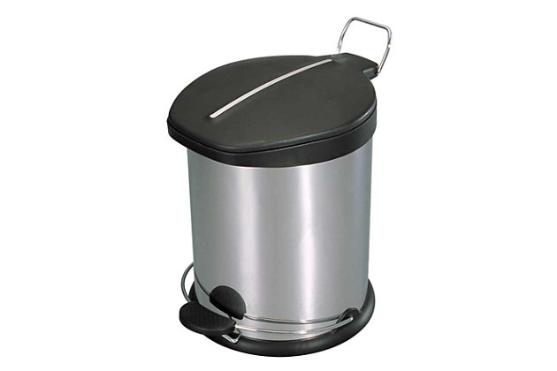 Home Accents 20 Liter Brushed Stainless Steel with Plastic Top Waste Bin, , large