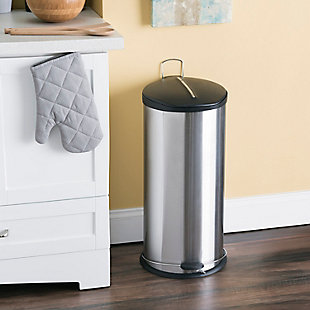 Home Accents 30 Liter Brushed Stainless Steel with Plastic Top Waste Bin, , rollover