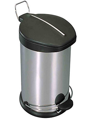 Home Accents 30 Liter Brushed Stainless Steel with Plastic Top Waste Bin, , large