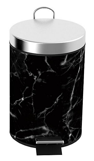 Home Accents Faux Marble 3 Liter Step Waste Bin with Built-in Metal Handle, , large