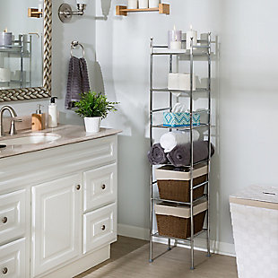 Honey-Can-Do 6-Tier Bathroom Storage Shelving Unit, , rollover