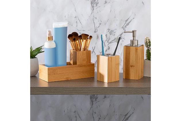Honey-Can-Do Bamboo 4-Piece Dispenser Set, , large