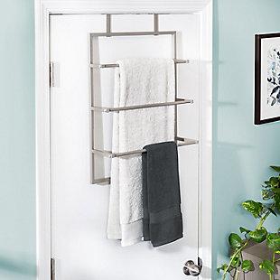 Honey-Can-Do 3-Tier Over-The-Door Steel Bathroom Towel Rack, , rollover