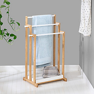 Honey-Can-Do 3-Tier Bamboo Bathroom Towel Rack, , rollover