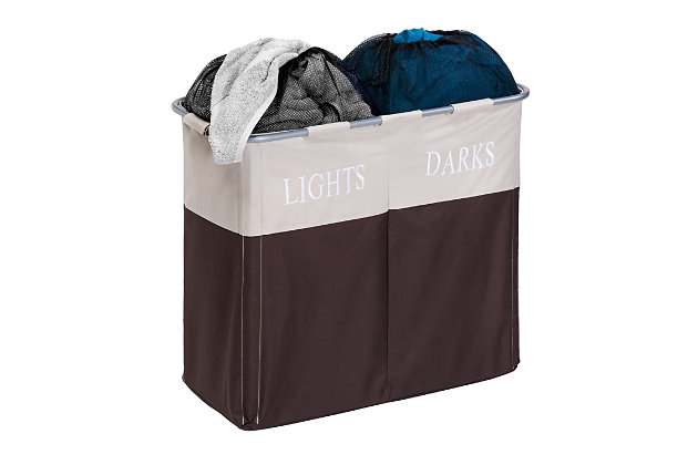 Honey-Can-Do Dual Compartment Laundry Hamper, , large