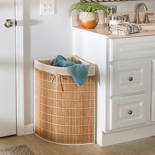 Honey-Can-Do Wicker Corner Hamper with Laundry Bag, , rollover