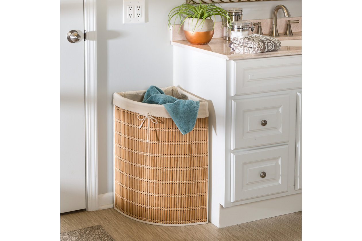 Honey Can Do Wicker Corner Hamper With Laundry Bag Ashley Furniture Homestore