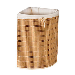 Honey-Can-Do Wicker Corner Hamper with Laundry Bag, , large