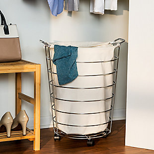 Honey-Can-Do Chrome Wire Rolling Hamper, , rollover