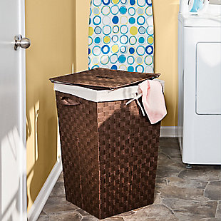 Honey-Can-Do Woven Strap Hamper with Liner and Lid, , rollover