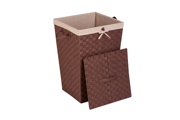 Honey-Can-Do Woven Strap Hamper with Liner and Lid, , large