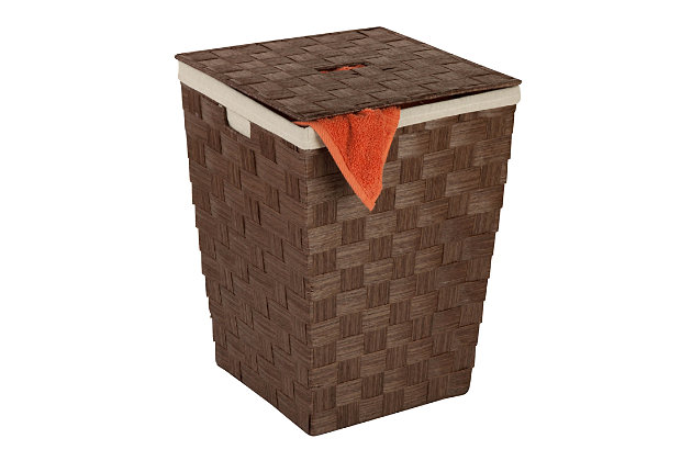 Honey-Can-Do Woven Paper Hamper, Brown, large