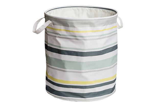 Honey-Can-Do Multi-Stripe Hamper, Multi Stripe, large