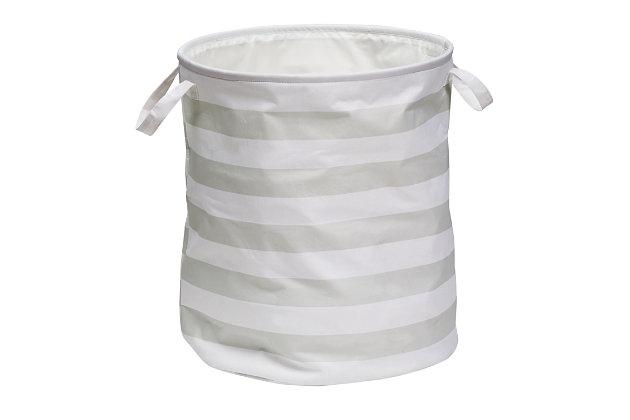 Honey-Can-Do Stripe Hamper, Gray, large