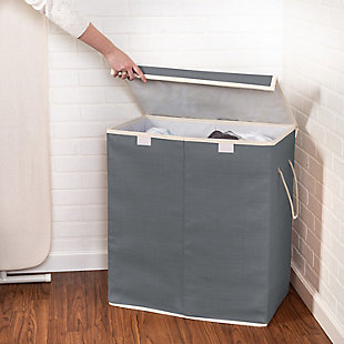 Honey-Can-Do 2-Compartment Collapsible Sorting Hamper, , rollover