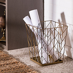 Honey-Can-Do Chevron Wire Trash Bin, , rollover