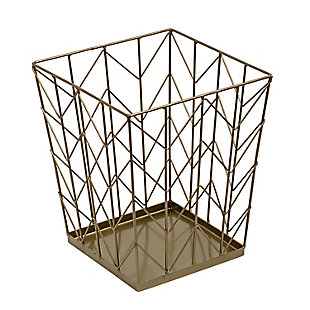 Honey-Can-Do Chevron Wire Trash Bin, , large