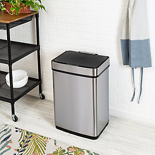 Honey-Can-Do 50L Stainless Steel Trash Can with Motion Sensor and Soft Close, Brushed Silver Finish, rollover