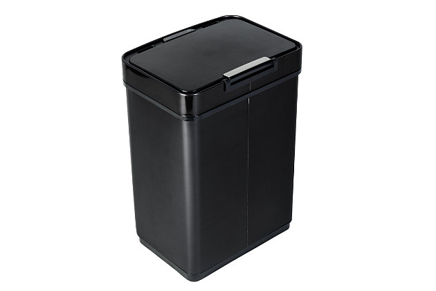Honey-Can-Do 50L Stainless Steel Trash Can with Motion Sensor and Soft Close, Black, large