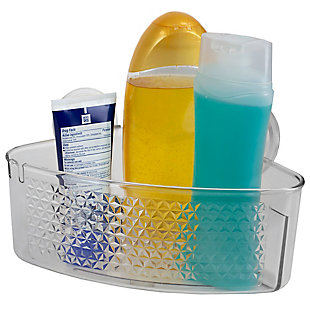Home Accents Large Cubic Patterned Plastic Corner Shower Caddy with Suction Cups, , rollover