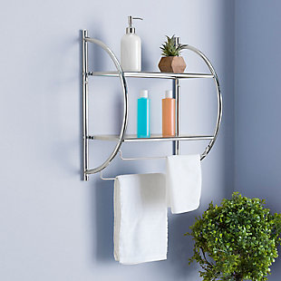Home Accents 2 Tier Wall Mounting Chrome Plated Steel Bathroom Shelf with Towel Bar, , rollover