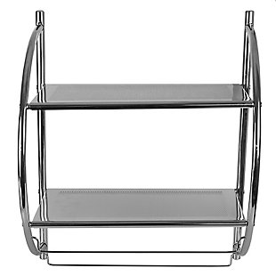 Home Accents 2 Tier Wall Mounting Chrome Plated Steel Bathroom Shelf with Towel Bar, , large