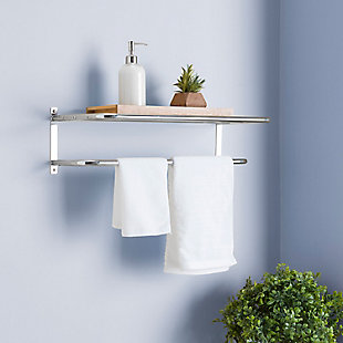 Home Accents Wall Mounted Bath Shelf with Towel Bar, , rollover
