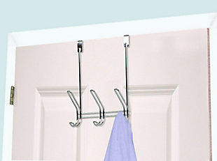 Home Accents 3 Dual Hook Over-the-Door Steel Organizing Rack, , rollover