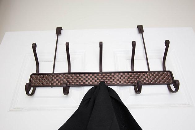 Home Accents Bronze Over-the-Door 5 Hook Hanging Rack, , large